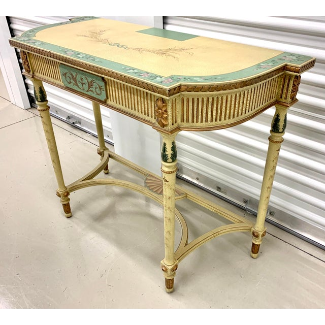 French Country French Country Hand Painted Maitland Smith Console Table For Sale - Image 3 of 11