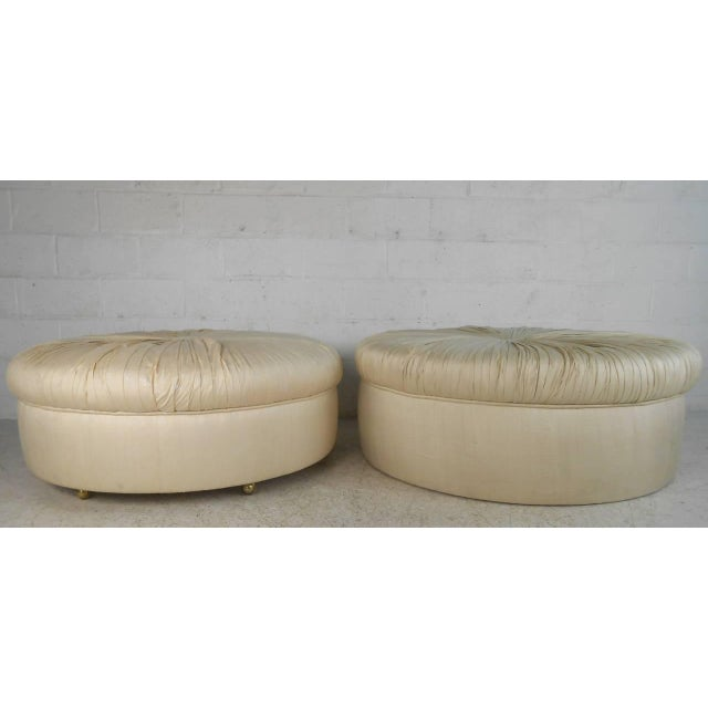 This listing is for a vintage ottoman, perfect for occasional seating or accent in any modern application. Unique design...