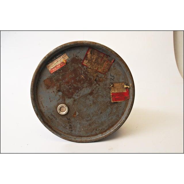 Vintage Industrial Gray Metal Barrel with Lid - Image 8 of 11