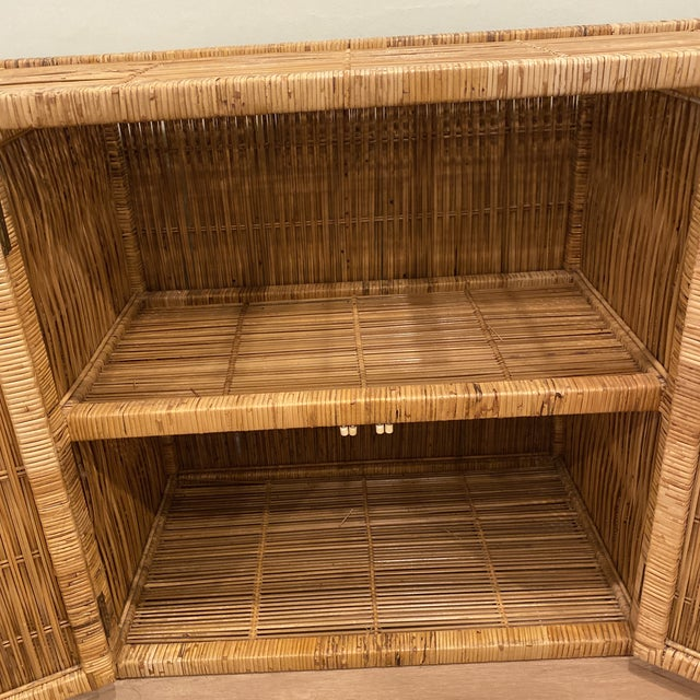 Vintage Palm Beach Boho Chic Wicker Rattan Shelving Unit For Sale - Image 10 of 12