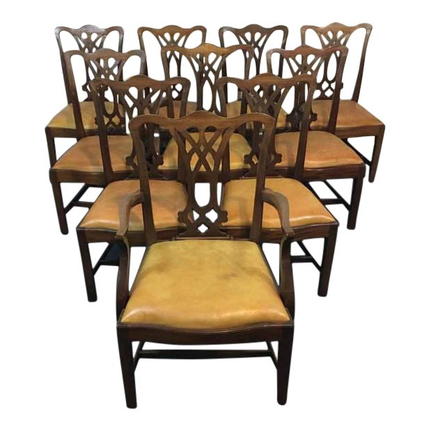 Chippendale Style Carved Mahogany Upholstered Dining Chairs - Set of 8 - Image 1 of 11