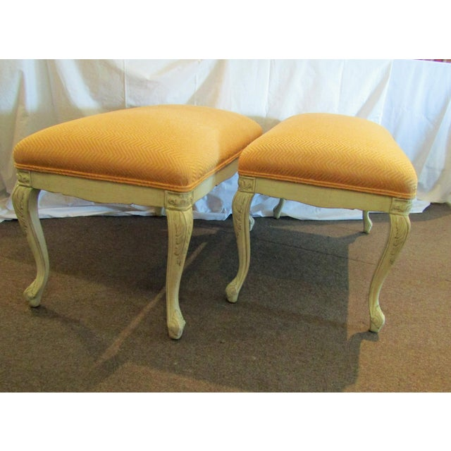 White Carved Wood Benches - A Pair - Image 6 of 6