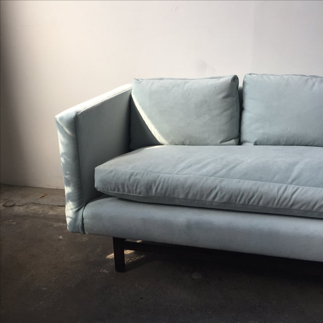 Mid-Century Rosewood Sofa in Mint Microsuede - Image 7 of 10