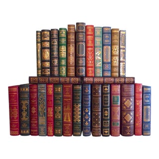 1970s Vintage Decorative Leather Books, Signed and Limited Edition Franklin Library Collection - 25 Pieces For Sale