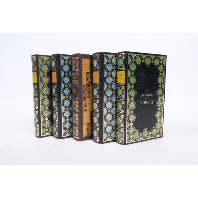 1970s Set of French Leather Bound Books S/5 For Sale - Image 5 of 6