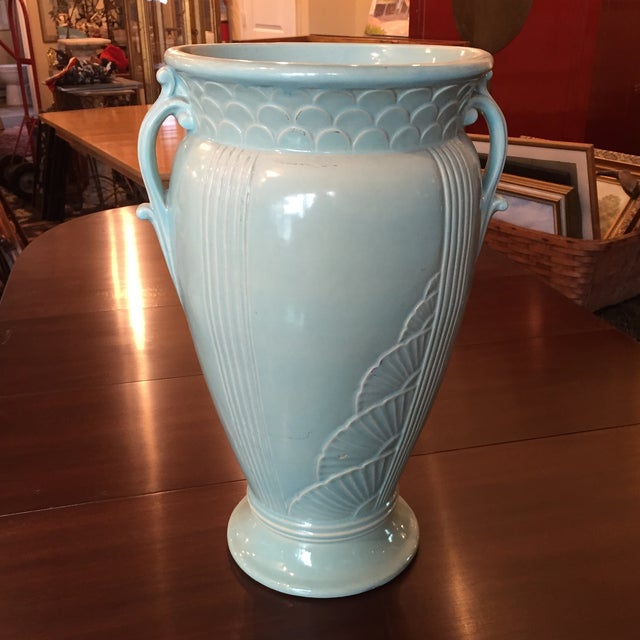 Art Deco Light Blue Ceramic Urn - Image 2 of 6