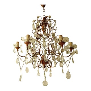 French Giltwood Crystal Prisms Chandelier, Circa 1920 For Sale