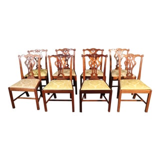 Set 8 Solid Mahogany Chippendale Dining Room Chairs With Damask Slip Seats For Sale