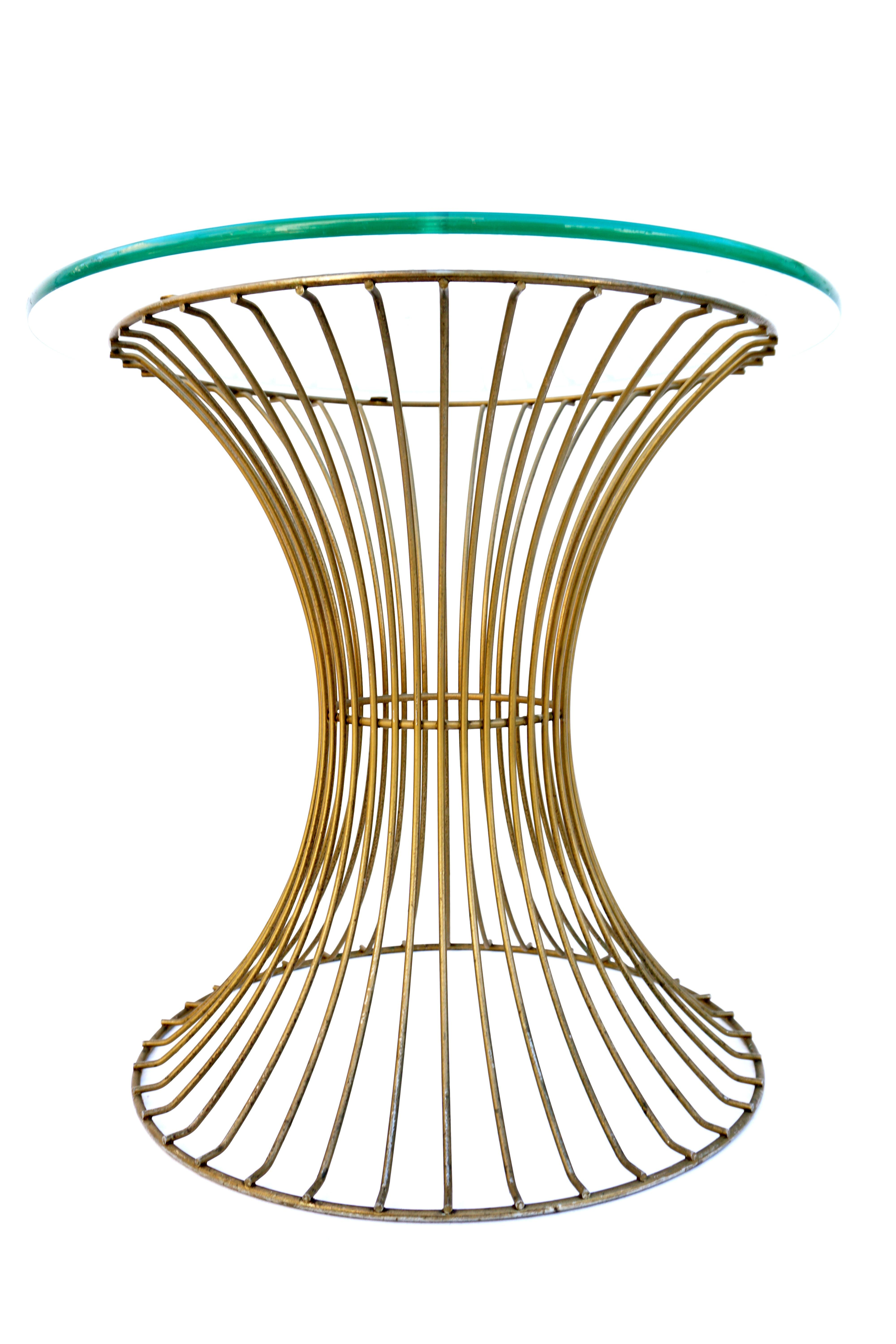Mid Century Modernist Platner Style Iron Side Table Or