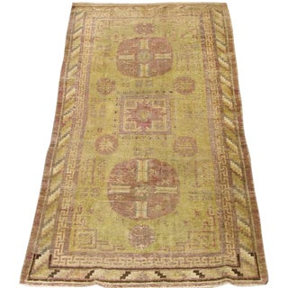 Early 20th Century Antique Khotan Handmade Rug - 3′8″ × 7′5″ - Size Cat. 3x5 4x6 5x7 For Sale