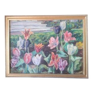 "1970s ""Tulip Bed"" Botanical Oil Painting by Marjorie Acker Phillips, Framed For Sale"