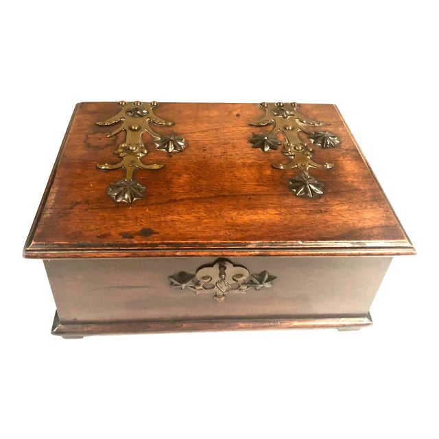 Antique Turn of the Century German Walnut Box For Sale