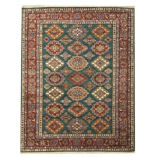 Transitional 'Kazak' Style Forest Green, Red and Beige Knotted Carpet - 6′ × 8′2″ For Sale