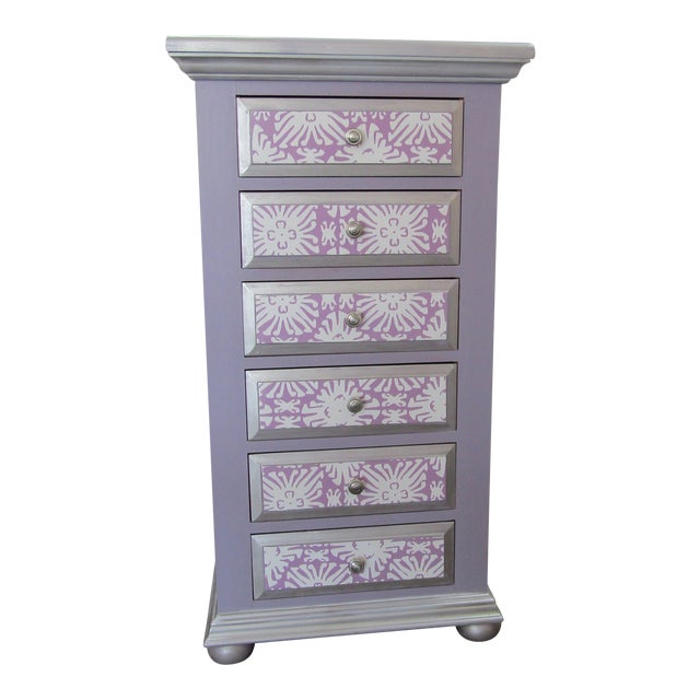 Boho Chic Broyhill Lavender Pine Highboy/Lingerie Chest For Sale