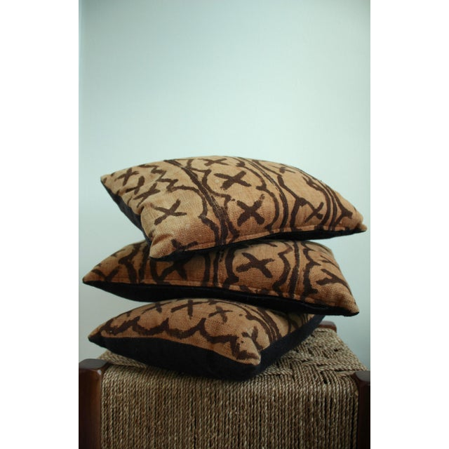 Vintage African Mudcloth Throw Pillows - Set of 3 - Image 5 of 5