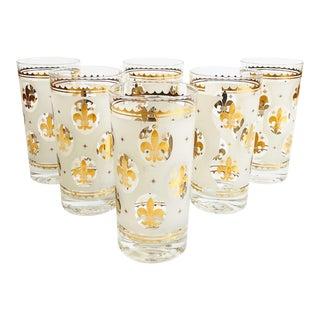 Vintage Gold Fleur De Lis Tumblers - Set of 6 For Sale