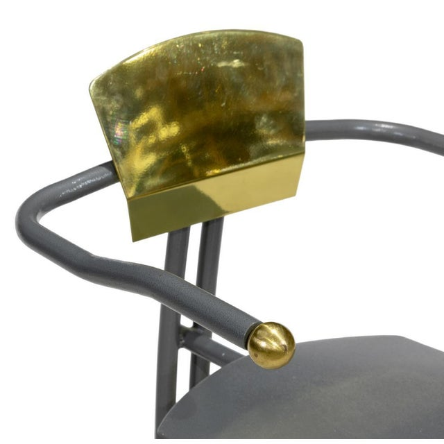 Available for sale: Rare sculptural arm chair. Iroin and brass. amazing conversational piece.