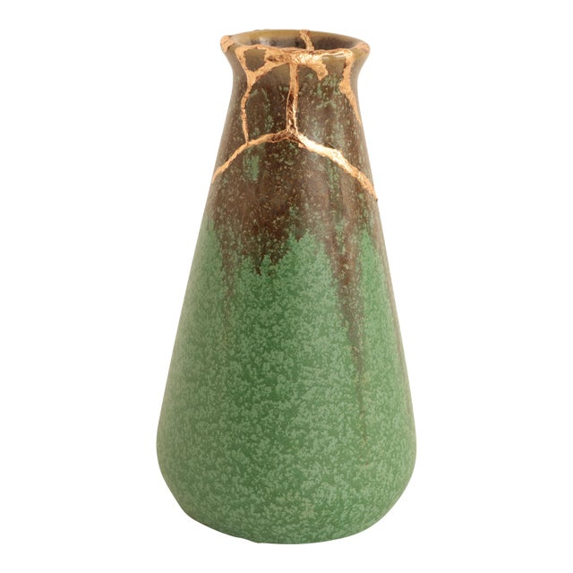 Arts Crafts Green Kintsugi Vase Chairish