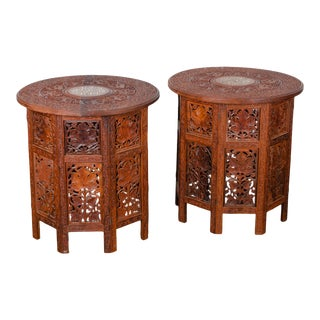 Vintage Anglo-Indian Octagonal Folding Tables-a Pair For Sale