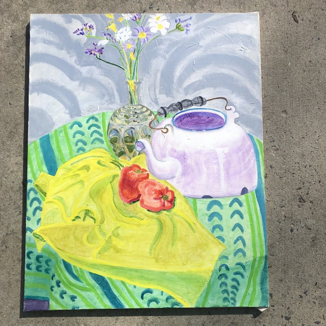 Original Vintage Contemporary Impressionist Still Life Painting Matisse Style For Sale In Philadelphia - Image 6 of 6