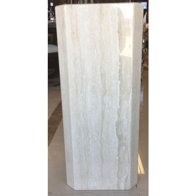 2000s Gray Travertine Marble Pedestal For Sale - Image 5 of 10