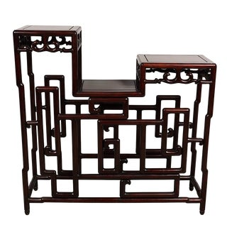 20th Century Chinese Hand Carved Rosewood Treasure Display Shelf For Sale