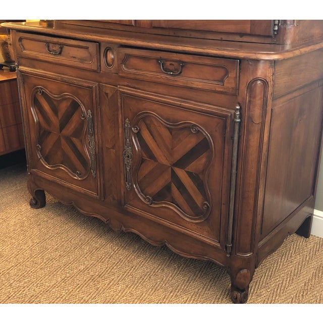 French Provincial Walnut Buffet-A-Deux-Corps/Cabinet For Sale - Image 4 of 6