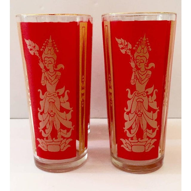 "Culver Mid-Century Red & 22k Gold ""Thai Goddess"" Drinks - Set of 9 - Image 5 of 8"