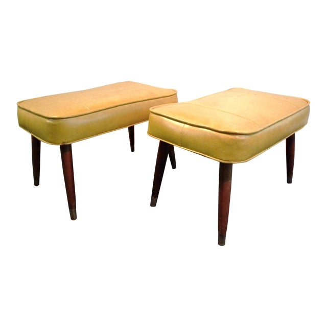 Vintage Mid-Century Gold Ottoman Footrests - Pair - Image 1 of 8