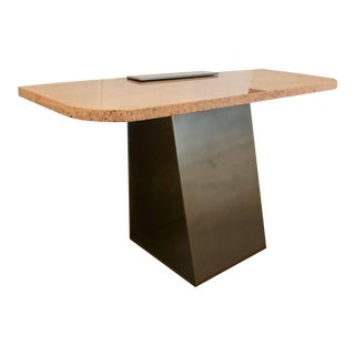 Pink Granite & Steel Console Table For Sale