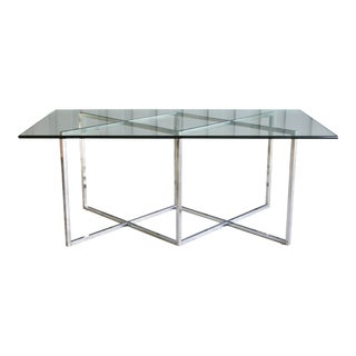 Milo Baughman-Style Chrome & Glass Dining Table or Desk