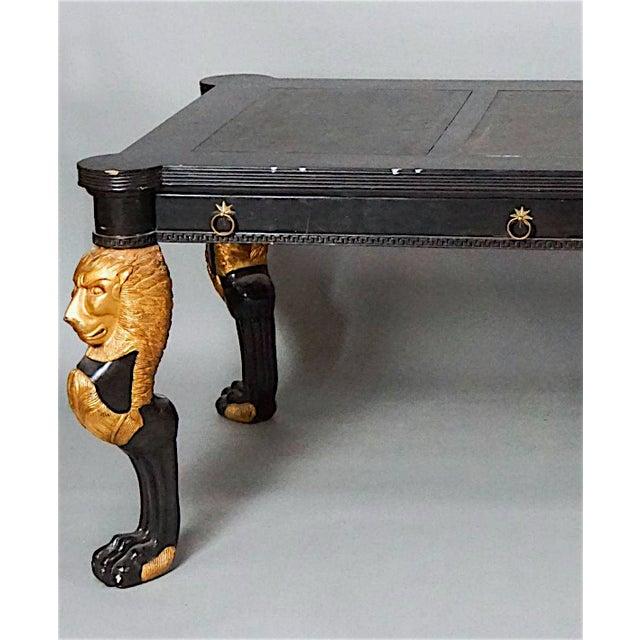1960s Ebonized Partners Desk Having Gilt Lion Form Legs For Sale - Image 5 of 6