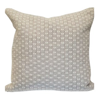 Custom Designer Luxe Textured Cream and Brown Pillow For Sale