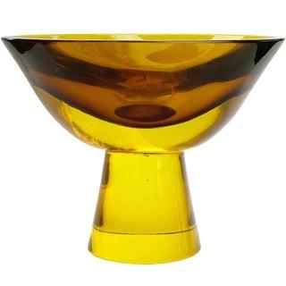 Flavio Poli Seguso Vetri d'Arte Murano Golden Sommerso Italian Art Glass Mid Century Pedestal Bowl For Sale