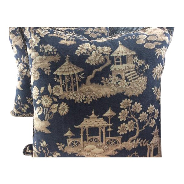 Ralph Lauren Pillows in Silk Road Black & Taupe Velvet Toile - A Pair - Image 1 of 3