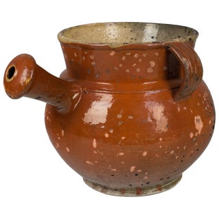 19th Century French Glazed Terracotta Pot For Sale