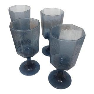 Vintage Blue Goblet Glasses - Set of 4 For Sale
