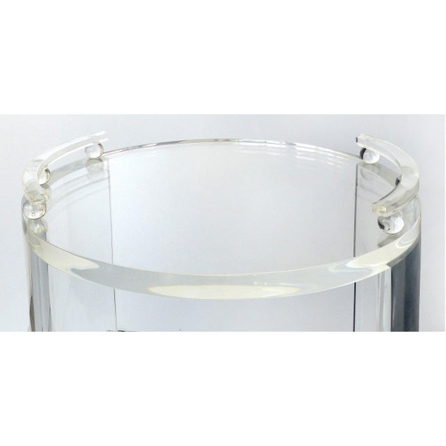 2010s Round Lucite Bar Cart on Casters For Sale - Image 5 of 11