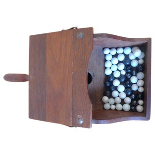 Ballot Box With Black and White Glass Balls in Handheld Lidded Walnut Box For Sale