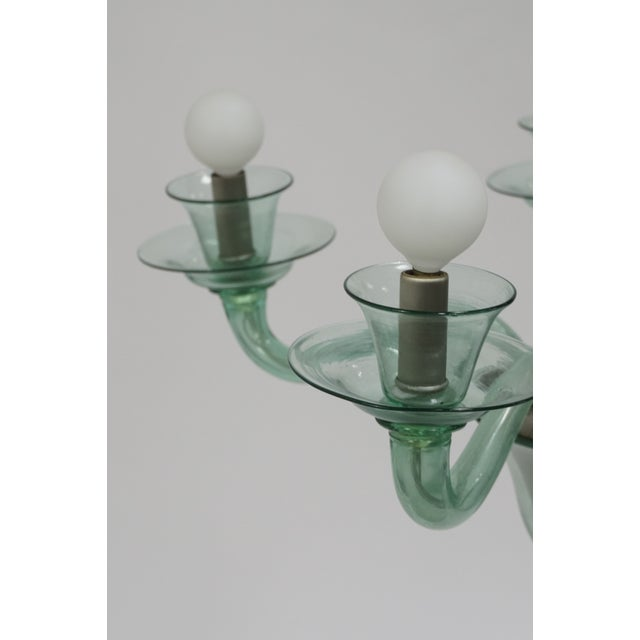 Mid-Century Modern Solid Aqua Murano Glass Chandelier For Sale - Image 10 of 11