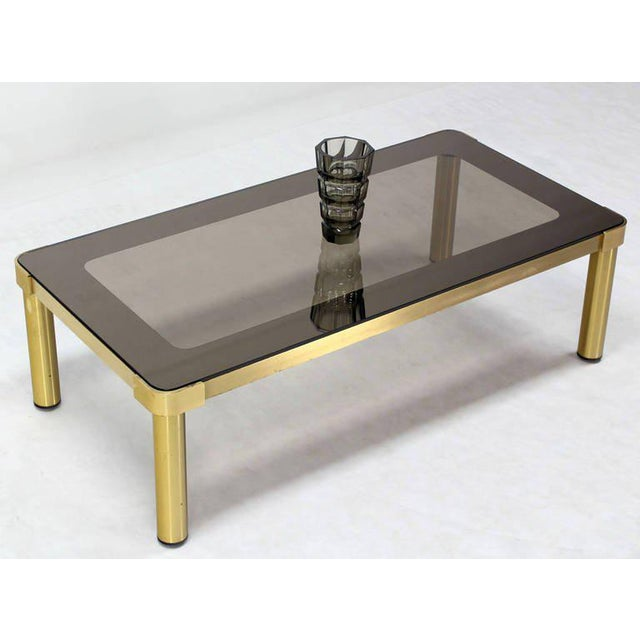 Mid-Century Modern Mid-Century Modern Brass and Two-Tone Glass Coffee Table by Mastercraft For Sale - Image 3 of 11