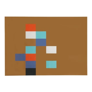 Eleven Units on Ochre, Geometric Abstract Serigraph by Inukai