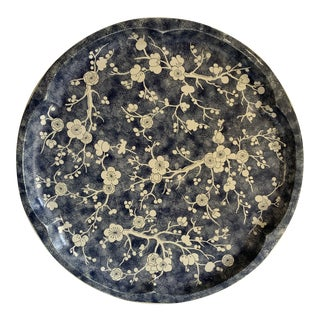 Vintage Blue & White Asian Blossom Metal Tray For Sale