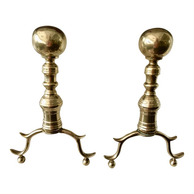 Antique Colonial Brass Andirons - A Pair - Image 1 of 6
