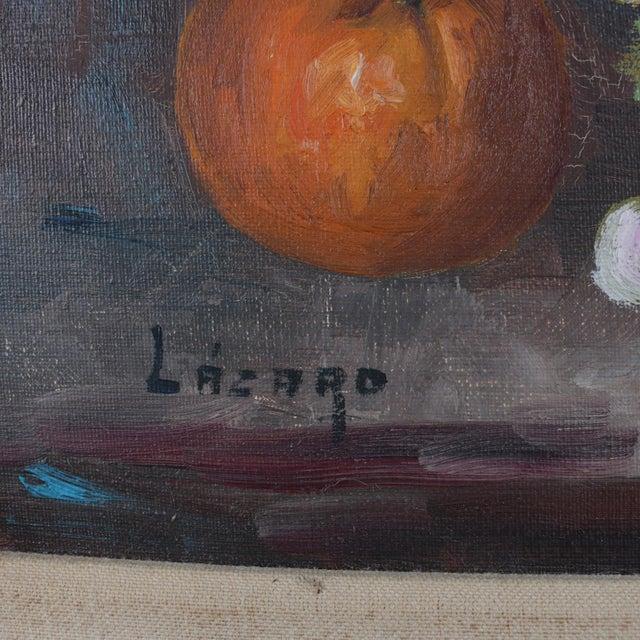 Mediterranean Vintage Spanish Oil on Canvas Still Life of Fruit & Wine by v. Lazaro For Sale - Image 3 of 10