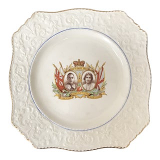 1937 Antique King George & Queen Elizabeth Coronation Platter For Sale