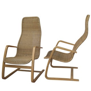 Mid-Century Modern Swedish Chairs Wicker Bentwood - a Pair For Sale
