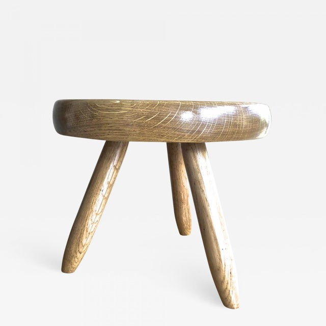 Ash Charlotte Perriand Genuine Vintage Ash Tree Tripod Low Stool For Sale - Image 7 of 7