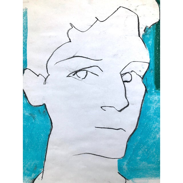 "Sky Blue Contemporary Portrait Drawing in Charcoal and Pastel, ""Self-Portrait, Blue and Green Line"", by Artist David O. Smith For Sale - Image 8 of 12"