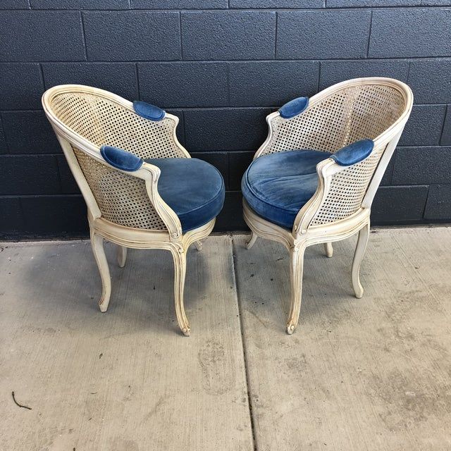 French 1960s Louis XV Style Barrel Back Caned Bergere Chairs - a Pair For Sale - Image 3 of 12
